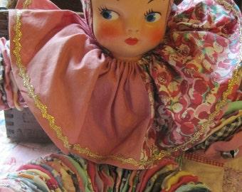 Beautiful Vintage Fabric Yo Yo Doll with Jingle Bells