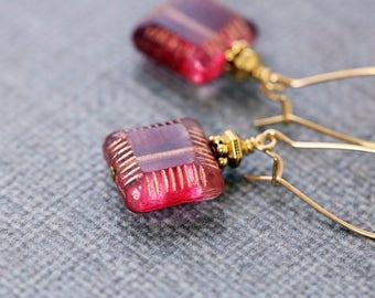 Pink Dangle Earrings | Pink Gold Earrings | Square Bead Earrings | Glass Drop Earrings | Czech Glass | Gift for Her | Rose Pink Earrings
