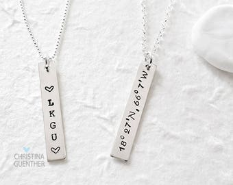 Personalized Vertical Bar Necklace   Sterling Silver Name   Delicate Layering   Hand Stamped Name Date Mantra GPS  Christina Guenther