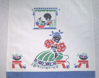 Tea Towel Black Americana Knitting Mother Retro Kitchen
