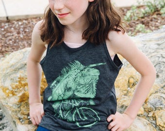 Iguana on a Bicycle- Youth Tank Top, Youth Tank, Handmade graphic tank, sizes 8-12