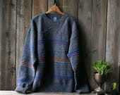 Mens Pendleton Crewneck Pullover Sweater Blue Gray From 80s Vintage From Nowvintage on Etsy