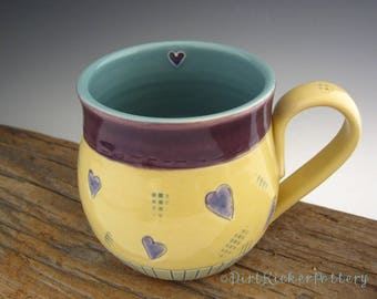 Pottery Mug with Hearts - Love Inscribed - Coffee Mug - Large Mug - by DirtKicker Pottery