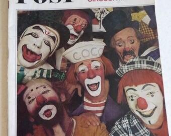 Vintage POST Magazine, April 10 1965, Circus Clowns Cover, Franklin Roosevelt, Jeanne Moreau, Advertisements, Ephemera, Vintage Pictures