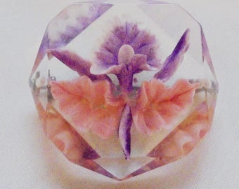 Vintage Reversed Carved Orchid Lucite Pin