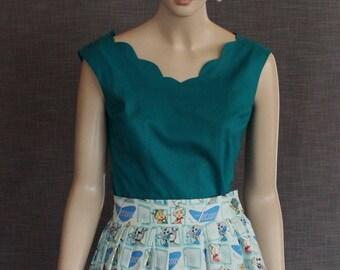 blouse / 50s pattern / vintage fabric / fifties / vintage style / retro / cotton / classic / 1950s /OOAK / jade green /designer