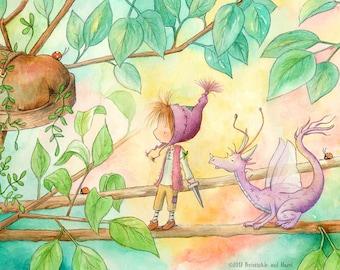 Gilly Honeypepper  - Auburn Hair Elf and Purple Fairy Dragon - Fairy Art - Art Print