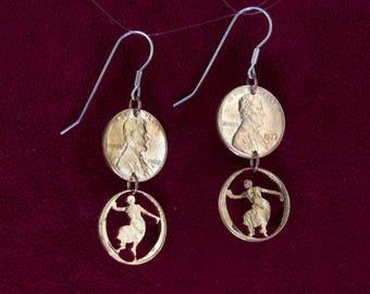 CLEARANCE- Bharatanatyam Dancers Cut Pennies Earrings Pose 1
