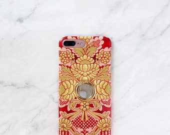 Phone Case Grip - Girly Damask Pink iPhone and Samsung Galaxy Finger Holder Ring Stand