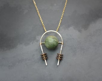 Minimal Gold Fill Hematite and Green Peruvian Opal Necklace