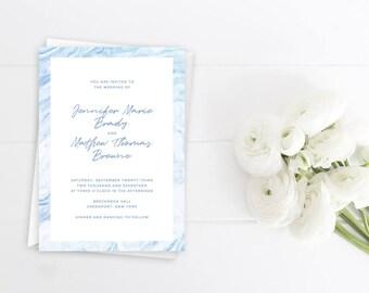 Wedding Invitation, Wedding Suite, Wedding Invite, Marble Design, Blue Marble, Modern Invite, Marble Border, Modern Wedding
