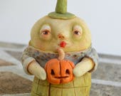 "Halloween Munchkin with pumpkin OOAK handmade polymer clay sculpture 3 1/2"" tall"