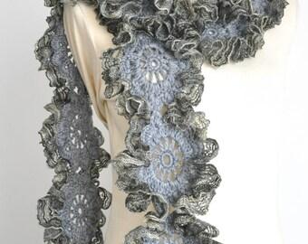 Sparkle - Gray - Crochet Gray Flower Ruffle Scarf