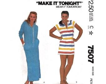 Hooded Beach Cover Up Pattern McCalls 7507 Caftan Style Beach Dress Raglan Beach Cover Womens Sewing Pattern Size 10 12 UNCUT