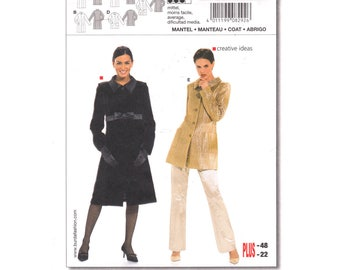 Womens Coat Pattern Burda 8292 Princess Seam Long Coat Collar Button Front Hip Jacket Size 10 to 22 Sewing Pattern UNCUT