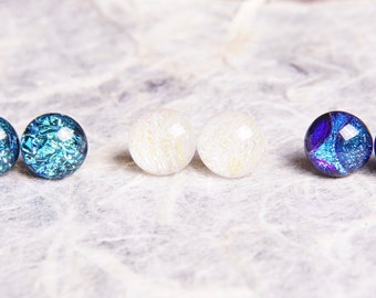 3 Pair Lot Handmade Dichroic Glass Earrings Studs Posts Pairs ...FREE Shipping...