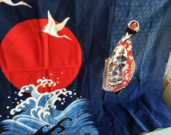Vintage 1950s MCM MidCentury Asian Cotton Linen Fabric Panels Geisha Crane Birds