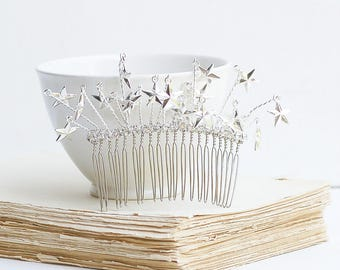 Star Hair Comb Silver Bridal Headpiece Silver Star Wedding Princess Gift for Her Boho Wedding Celestial Star Constellation Hair Comb