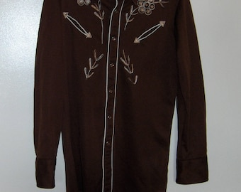 "70s polyester Johnny West men shirt brown with embroidery extra long tail tapered approx 20"" from armpit  to armpit and approx. 33 "" long"
