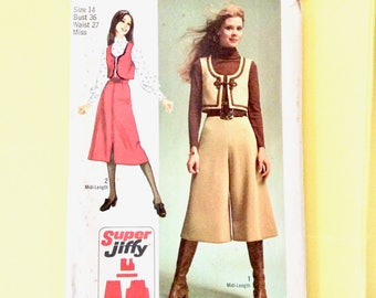 Simplicity 9102 circa 1970 Misses' Super-Jiffy Vest, Midi-Pantskirt and Midi-Skirt Culottes Vintage Sewing Pattern  Bust 36