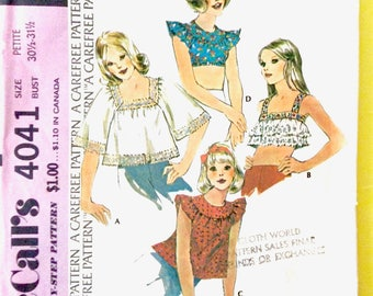 Uncut 70s McCall's 4041  square neckline crop top , round yoke ruffle trimmed crop and midriff tops  Vintage Sewing Pattern  Bust 31