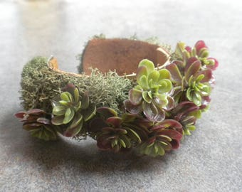 Ready to Ship Fashion Gift Succulent Jewelry Terrarium Cuff Bracelet Nature Lovers Gift