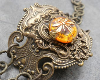 Ready to Ship Fashion Gift Dragonfly in Amber Statement Cuff Bracelet Gift for Outlander Fan