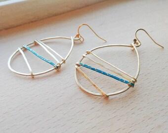 Teardrop Hammered Earrings - Linear