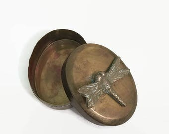 Vintage Brass Box with Dragonfly for Trinkets, Jewelry, Keepsakes, More