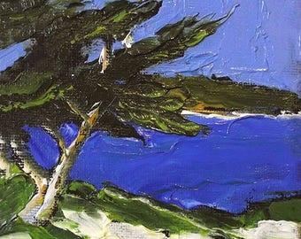 Miniature Impressionist Painting 4x4 Plein Air California MONTEREY BAY Carmel Beach Landscape Seascape Lynne French