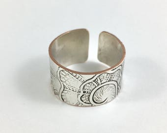 Size 8 Ring, Silver Ring, Wrap Ring, Adjustable Ring, Wife Gift, Mother Ring, Art Nouveau Ring, Spoon Ring, Wide Band Ring, Copper Ring