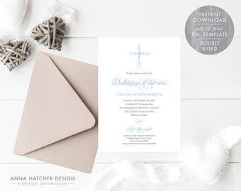Baptism or Baby Dedication Invitations, Blue Cross Dedication Invitation, Editable Baptism Invitation Template, PDF Instant Download BPD1