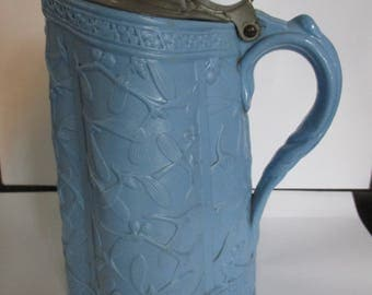 Blue Brownfield & Sons Mistletoe  ~ Syrup Pitcher Relief Molded with Original  Metal Top