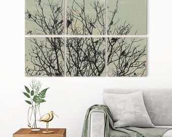 Large Nature Print Wall Art Decor - Custom Made Black Birds Wall Art