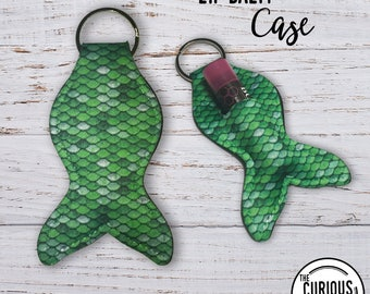 Mermaid Tail Lip Balm Keychain Case, Green Scales  Lipstick Key Ring Carrying Cozy