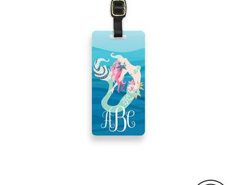 Luggage Tag Mermaid Personalized Luggage Tag,  Name or Monogram on Front, Printed Personalization Address on Back Single tag Mermaid 2