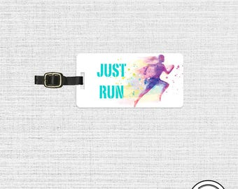Luggage Tag Just Run Watercolor Woman Runner with Personalized Backs - Metal Tag Single Tag