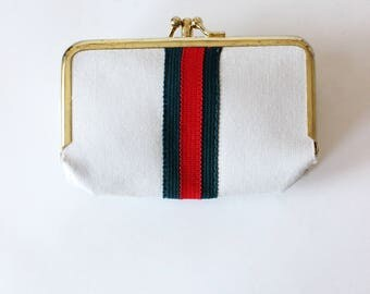 Vintage 1960s White Kiss Lock Coin Purse with Sewing Kit and Manicure Set