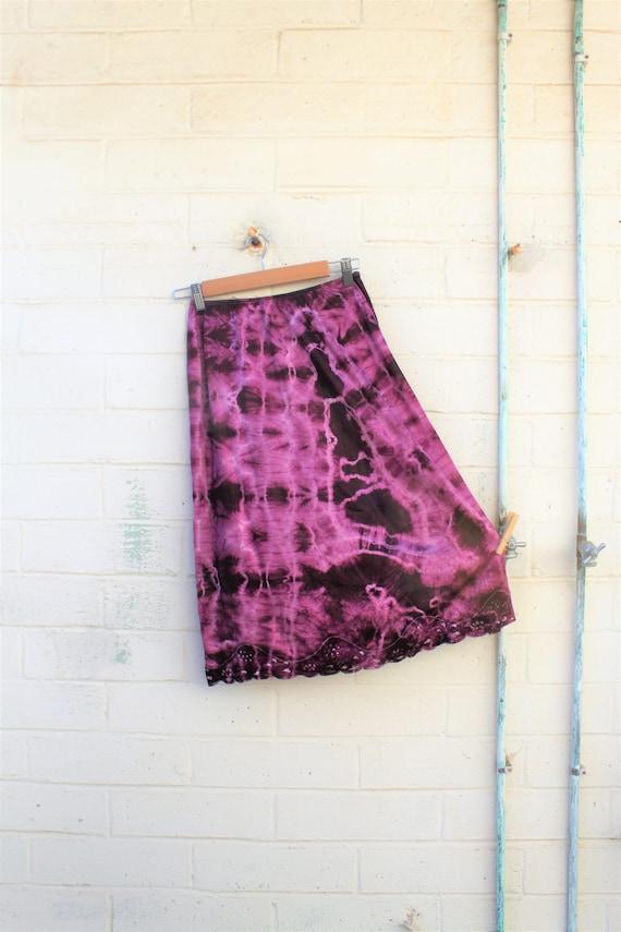 Medium Ultra Violet Skirt/Med Ruffle Layered Skirt/Tie Dye Skirt/Vintage Skirt/Upcycled Clothing/Upcycled Clothing/Slip Skirt/Woodland Fairy