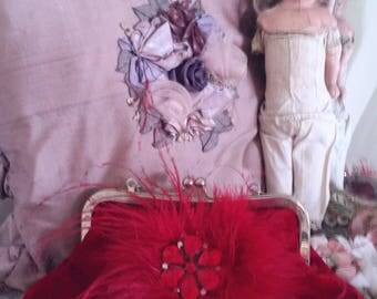 red evening bag, feathers rhinestones, 90s does 20s, burgundy flapper bag