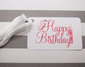 Happy Birthday Tags, Thank You Tags, Party Favor Tags, Gift Tags, Set of 10, (T13)