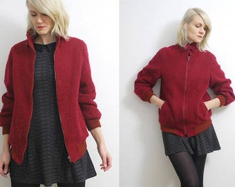 80s cherry red wool jacket. cropped boucle wool coat. wool bomber jacket - small, medium