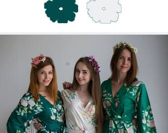 White and Forest Green Wedding Color Bridesmaids Robes - Premium Soft Rayon - Wider Belt and Lapels - Wider Kimono sleeves