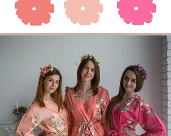 Watermelon Pink, Coral and Peach Wedding Color Bridesmaids Robes - Premium Soft Rayon - Wider Belt and Lapels - Wider Kimono sleeves