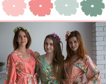 Sage, Peach and Coral Wedding Color Bridesmaids Robes - Premium Soft Rayon - Wider Belt and Lapels - Wider Kimono sleeves