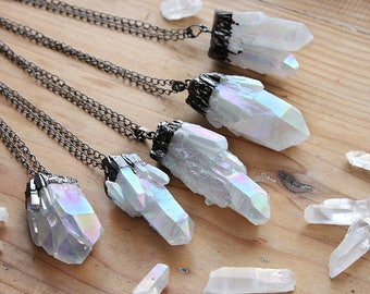 Midnight Angel Aura Pastel Crystal Cluster Necklace -  Quartz Druzy Clear Natural Raw Rough Dipped Black Gunmetal Rainbow Chunky Necklaces