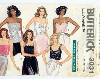 Vintage Butterick 3031 Women's Camisole Top UNCUT Sewing Pattern Sizes 14-16-18-20 Bust 36 38 40 42