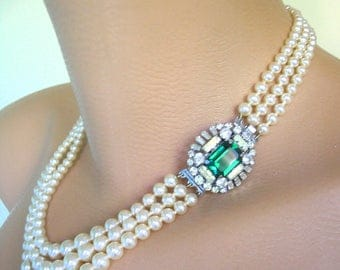 Emerald Necklace, Pearl Necklace, LOTUS, Pearl Choker, Emerald & Pearl, Great Gatsby, Bridal Pearls, Deco, Wedding Jewelry, Green Rhinestone
