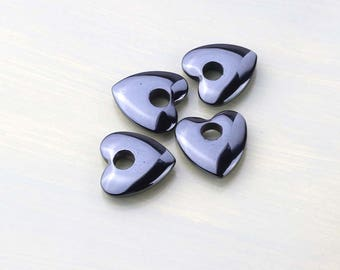 Hemalyke Hearts- Four Glossy Black Focal Hearts- Craft Supplies- DIY Jewelry Making