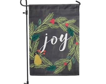 "Joy Wreath Holiday Garden Flag 12""x18"""